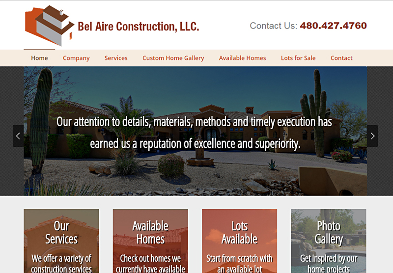 Web Design Portfolio Bel Aire Construction