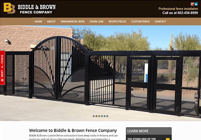 Web Design Portfolio Biddle and Brown Fencing