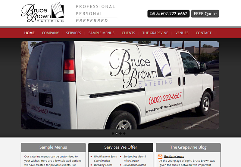 Web Design Portfolio Bruce Brown Catering