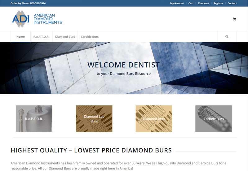 Medical Web Design Portfolio American Diamond Instruments