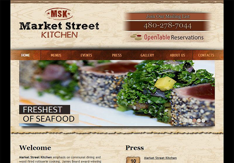 Restaurant Web Design Market Street Kitchen
