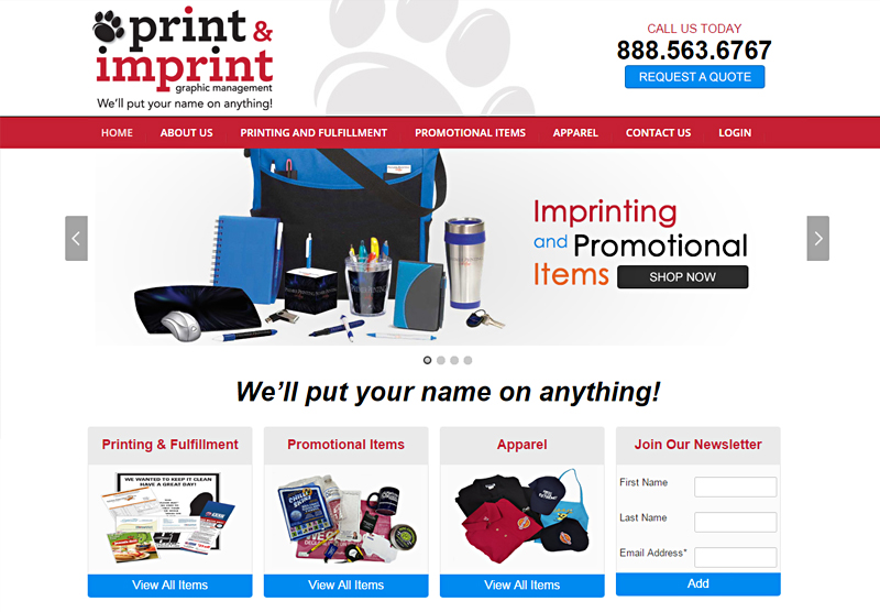 Website Shopping Cart Print and Imprint