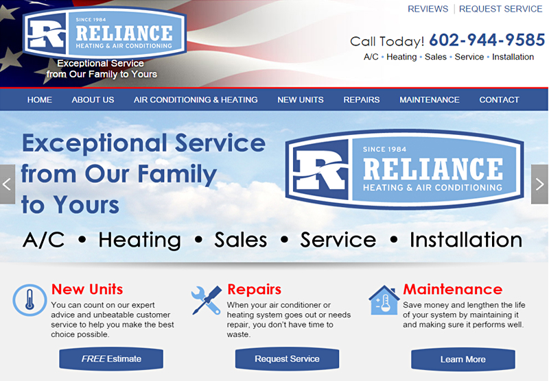 Web Design Phoenix Reliance Air