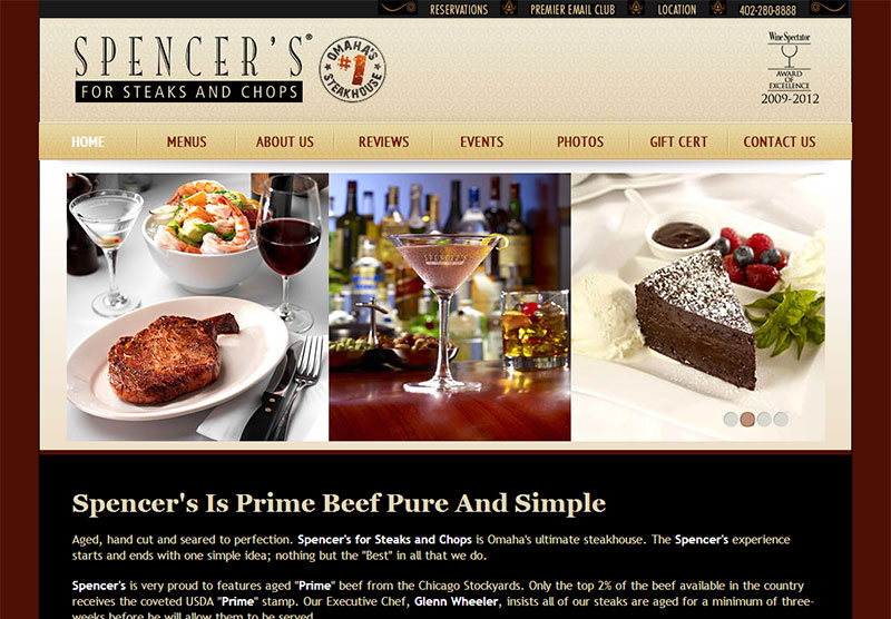 Web Design Restaurant Spencer's