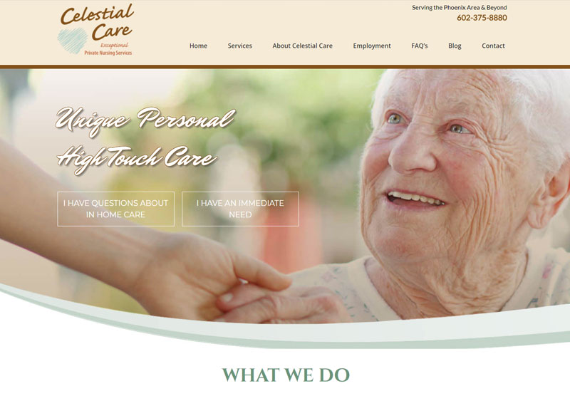 celestial care responsive website design