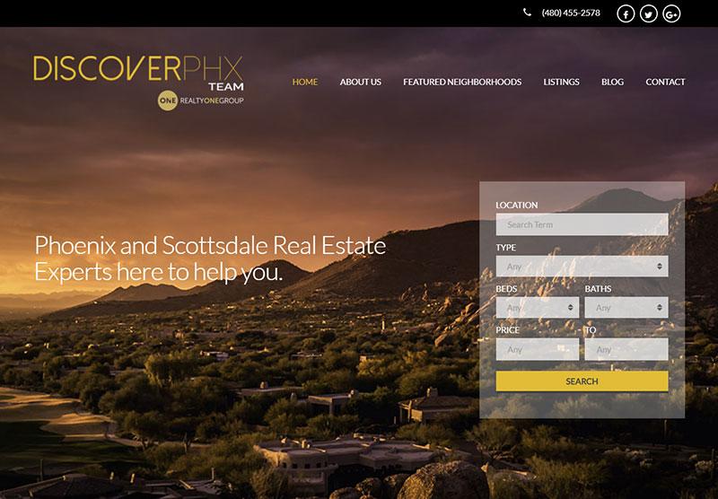 discover phx website desktop design