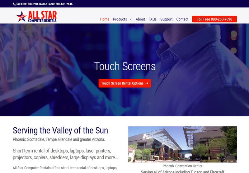 all star computer rentals website desktop snapshot