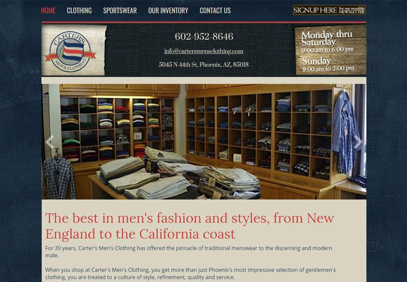 carters clothing website desktop snapshot