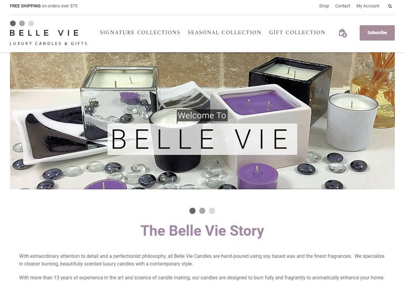 belle vie website desktop snapshot