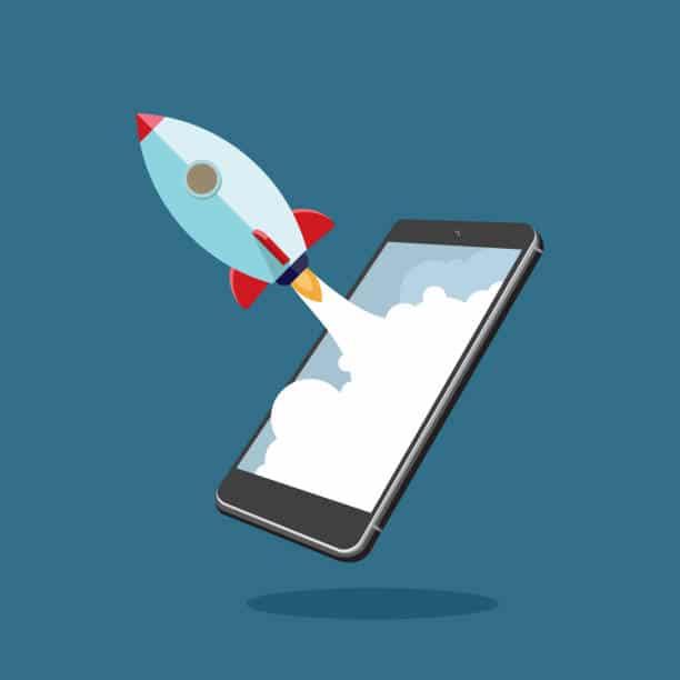 rocket phone speed online marketing graphic