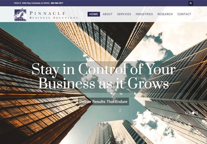 pinnacle business solutions website desktop snapshot