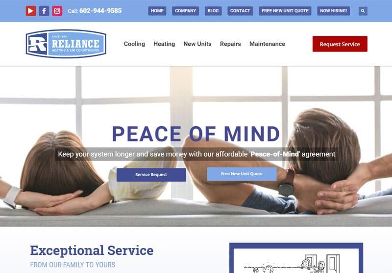 reliance website desktop snapshot