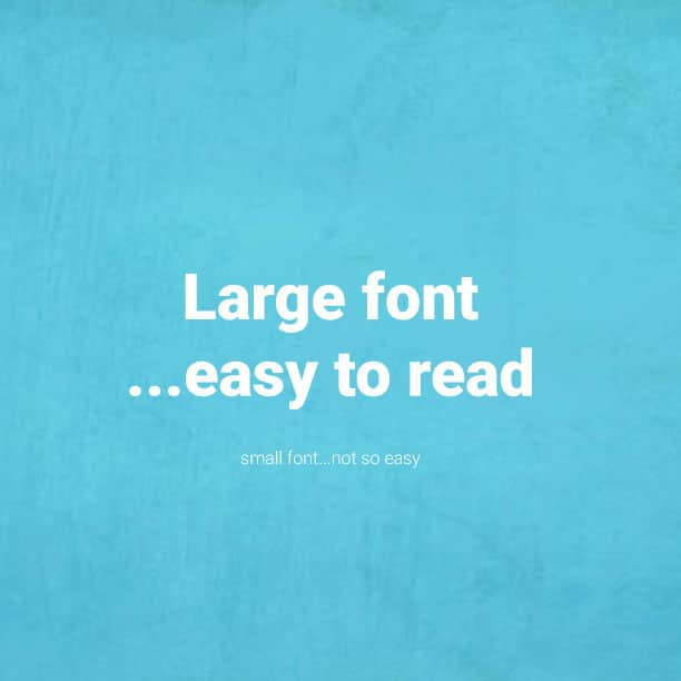 large font is easy to read graphic