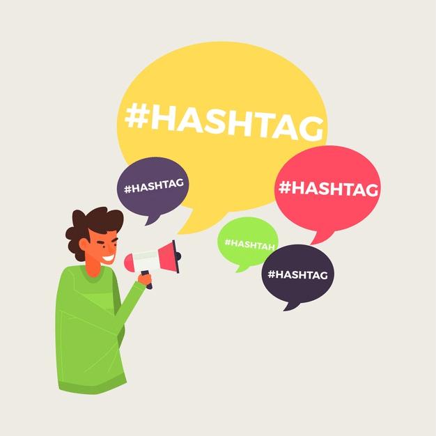 Cartoon of hashtags