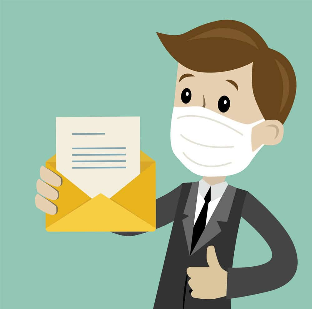 Cartoon man with letter