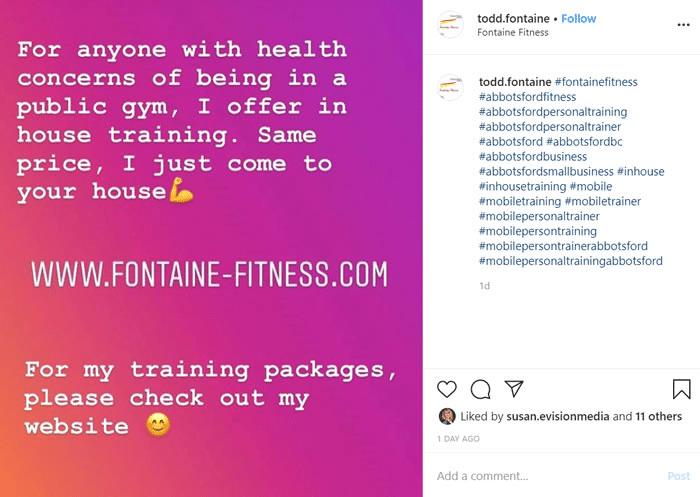 Todd Fontain sample instagram post