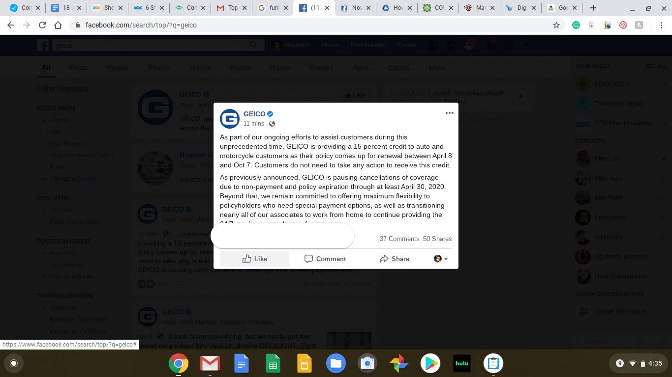 Geico sample facebook post