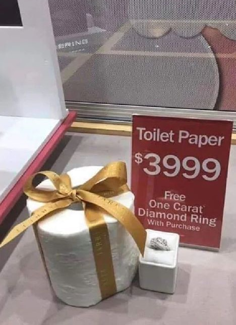 Diamond ring sale and toilet paper joke