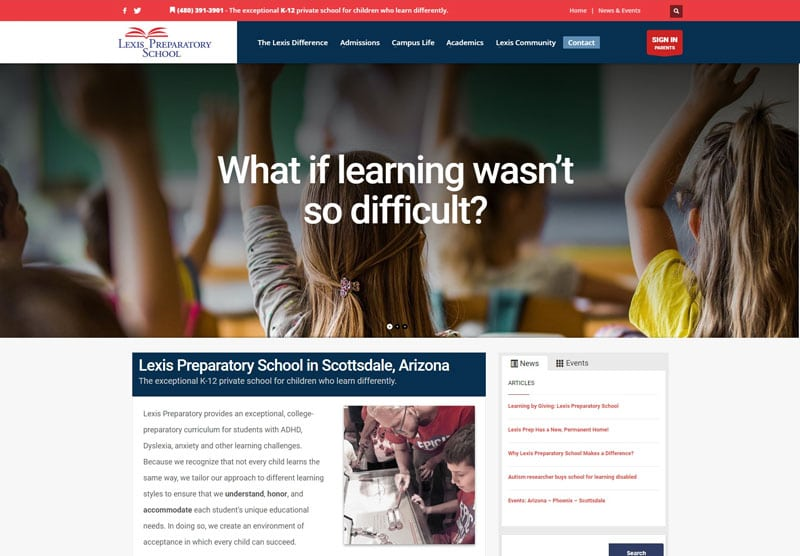 Lexis Prep school desktop snapshot